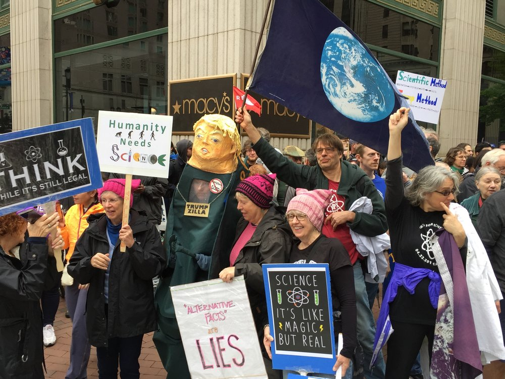 Members of H-CAN march along with thousands of others at the Philadelphia March for Science on April 22, 2017.