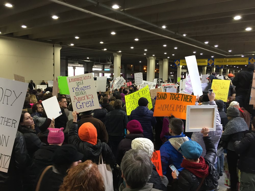 On January 29, 2017, members of H-CAN, along with more than a thousand others, protested the travel ban at the Philadelphia International Airport.