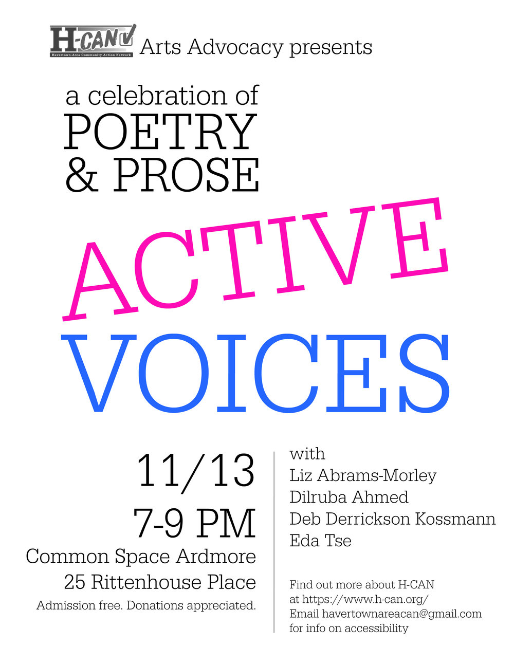 Poetry and Prose event on November 13th.