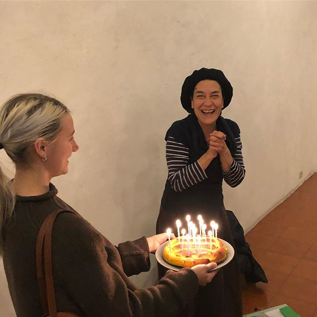 After Rome-based artist Bruna Esposito's lecture tonight, we celebrated the artist's birthday! 🎂 #brunaesposito #risd #rome #italy #contemporaryart