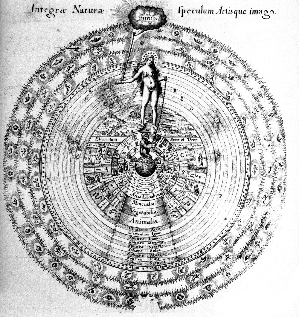 """Robert Fludd (1618): Here stands  Sophia , she who is Wisdom,  chained  inside  base matter  and suspended in a tripartite universe.  """"… in the emptier waste, resembling air … hanging in a golden chain/ This  pendant world , in bigness as a star/ Of smallest magnitude close by the moon."""" John Milton, Paradise Lost, II:1045-53"""