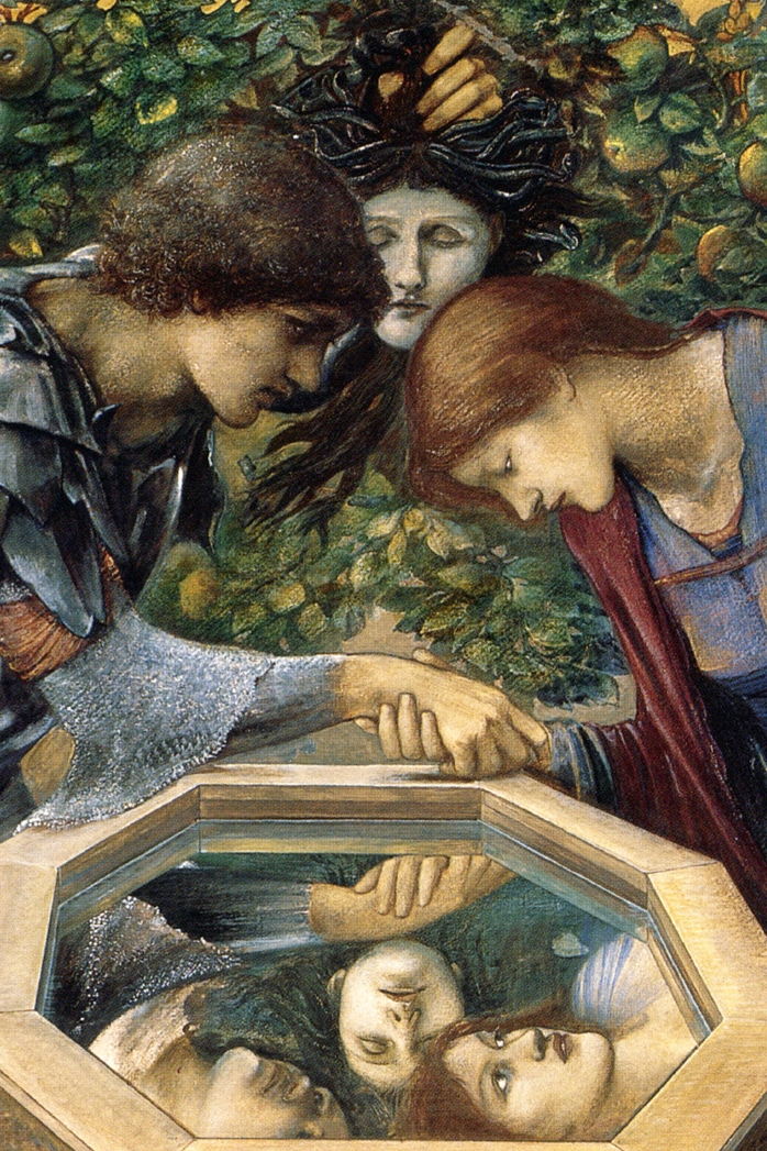 Edward Burne-Jones:   The Baleful Head  , 1885. Perseus and Andromeda look at the Gorgon's head, but only as reflected in the well.