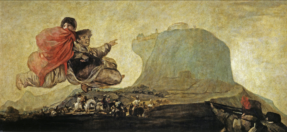 """Light   besieged   : """" Vision fantástica o Asmodea,""""  one of Goya's secret     Black Paintings    , murals on the inside walls of the house where he withdrew near the end of his life."""