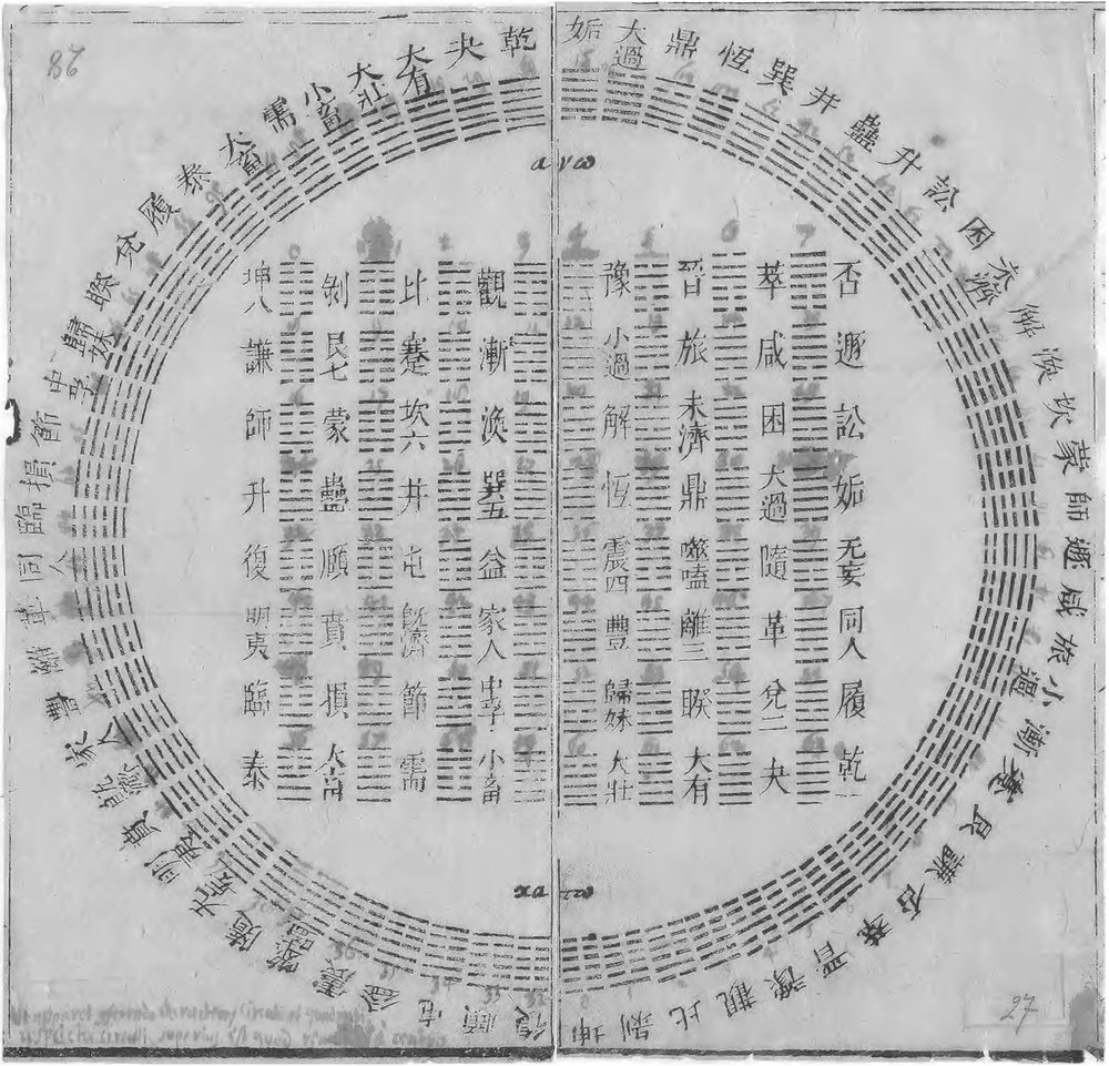 Everyone loves the    I Ching   . In 1701, a Jesuit missionary and scientist, Joachim Bouvet, gifted this       hexagram chart to the renowned mathematician Gottfried Wilhelm Leibniz.