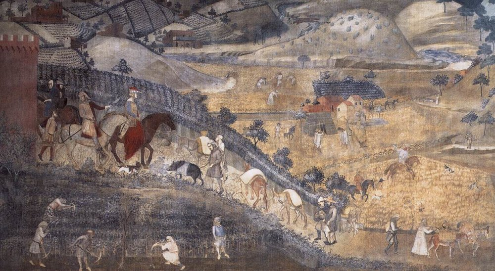 Light accessible : Detail from Ambrogio Lorenzetti's allegory,   The Effects of Good Government  . The countryside is safe, peaceful, and productive. Travelers have greater opportunity for seeking  She  who is hidden in plain sight amid clods of earth by the road.