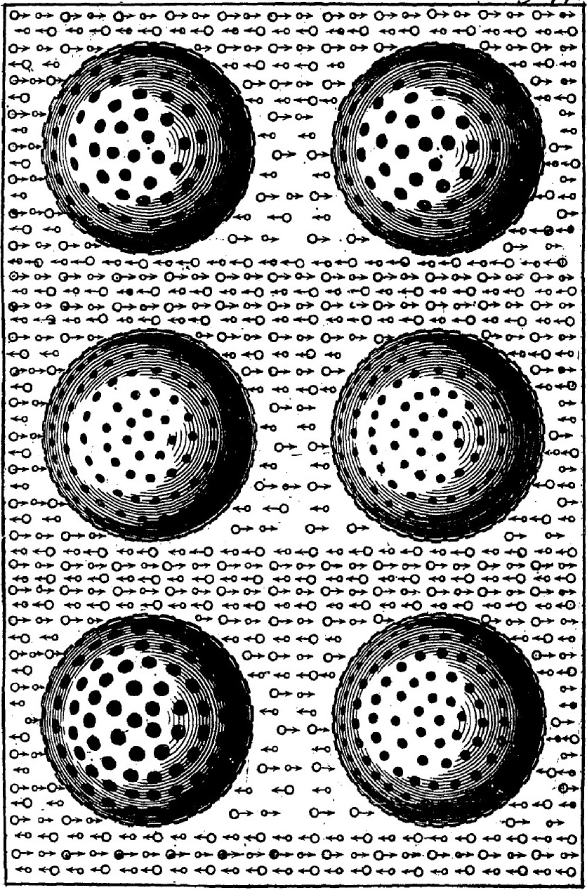 LeSage illustrates his theory of gravitational force: a universal sea of tiny, mindless, pushy corpuscles