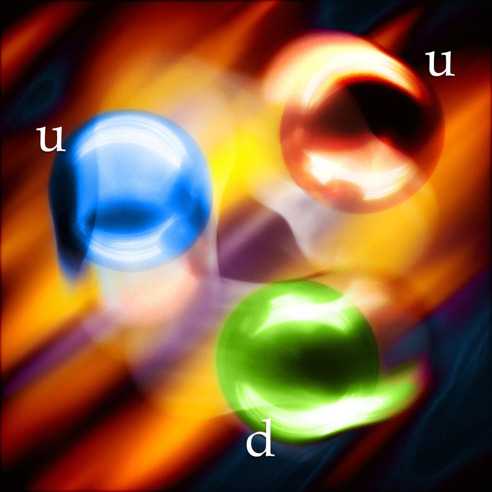 Virtual proton: 2 up quarks and 1 down quark