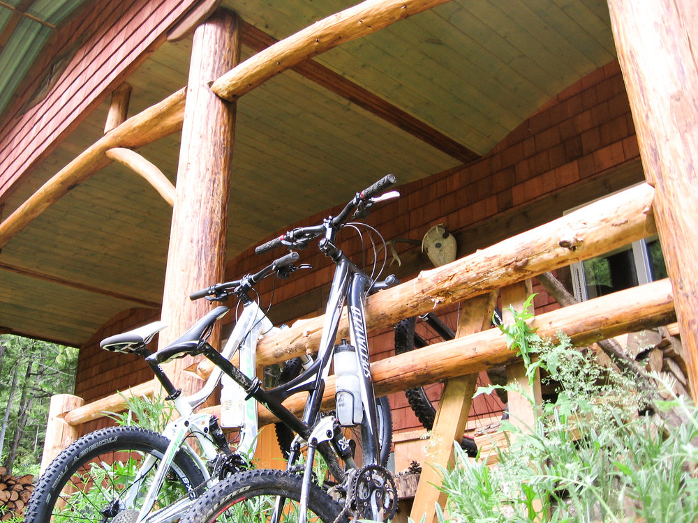 Hang the Bikes on the Cabins Railing