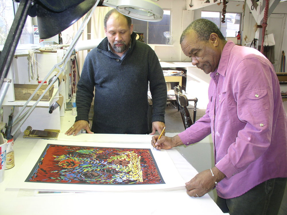 Curlee Holton and David Driskell in the studio.