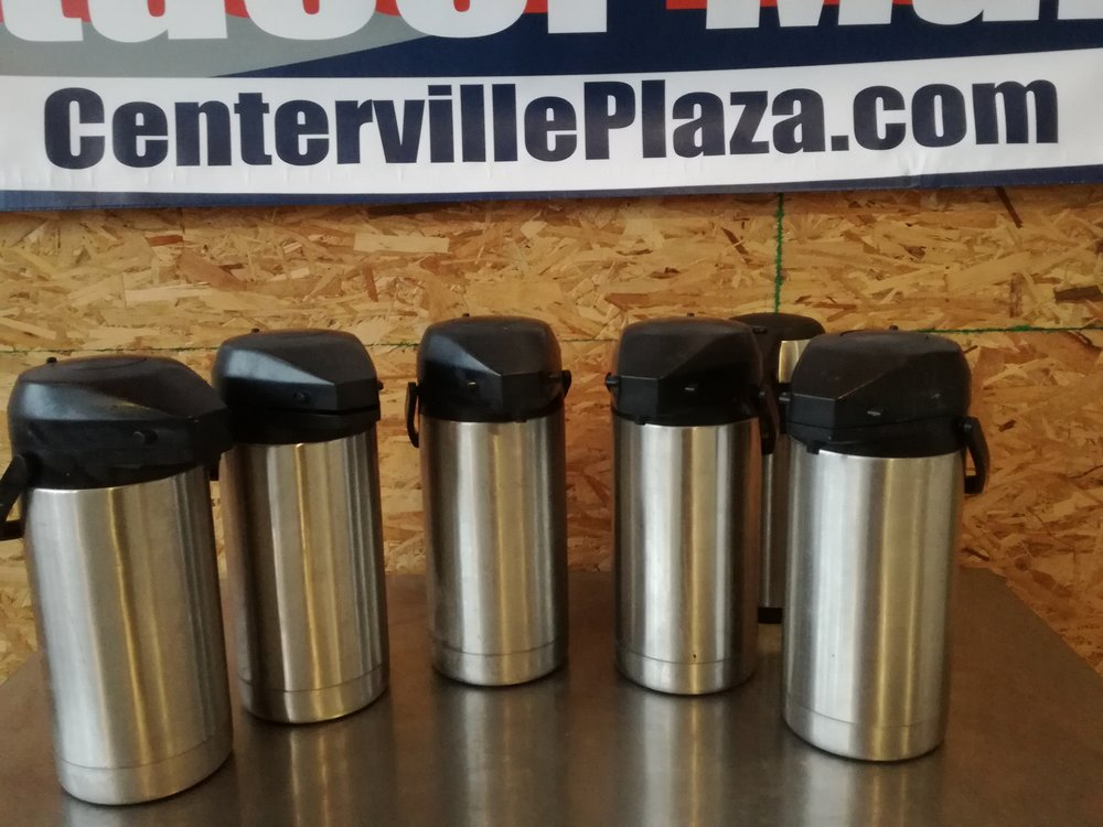 Bunn - 3 Liter Stainless Steel Lined Lever & Press button Air pots  $20   - Will keep your coffee or hot water hot for hours! These excellent quality stainless steel pots are great for catering or corporate meetings. Very easy to transport with carrying handles. Stainless steel finish with black trim. 3-liter (102-ounce) capacity. Stainless steel lining ensures hot coffee for hours Most have Brew-through lids with lever-action for easy use.  9 Units available. Black and Stainless Steel Air Pots