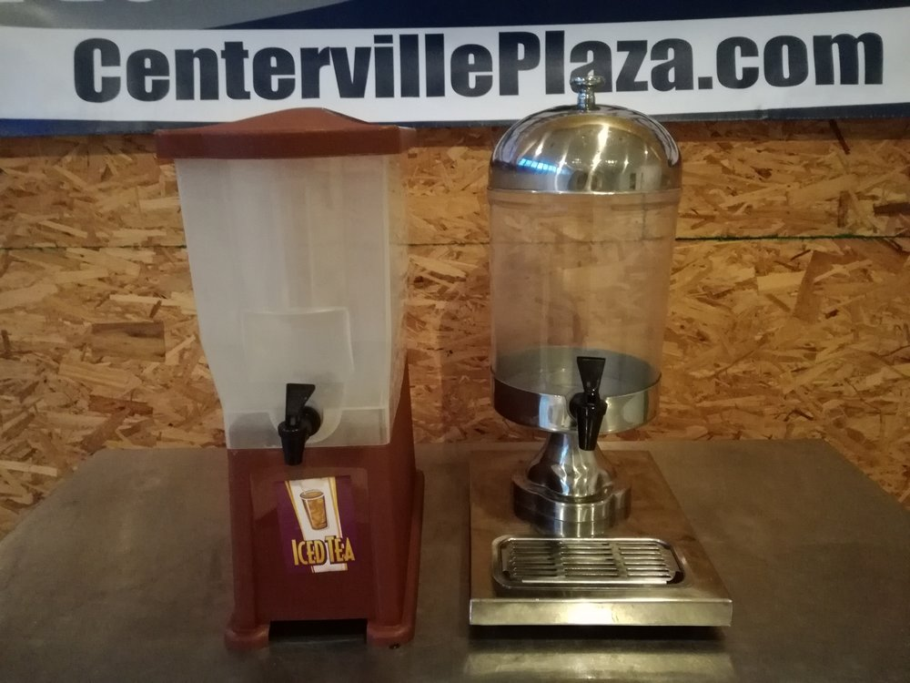 3 Gallon Plastic Iced Tea Punch Juice Beverage Drink Dispensers $35 each - These beverage dispensers are perfect for casual catered events, back bar service, food trucks or restaurant use.  Each unit will hold bewteen 2.5 - 3 gallon. Some are labeled for Ice Tea. Space-saving, slim designs. Very clean and professional looking. 4+ Multiple units available with different styles not pictured such as cambro style containers.Great for parties, catered events, and gatheringsLarge 3 gallon capacity