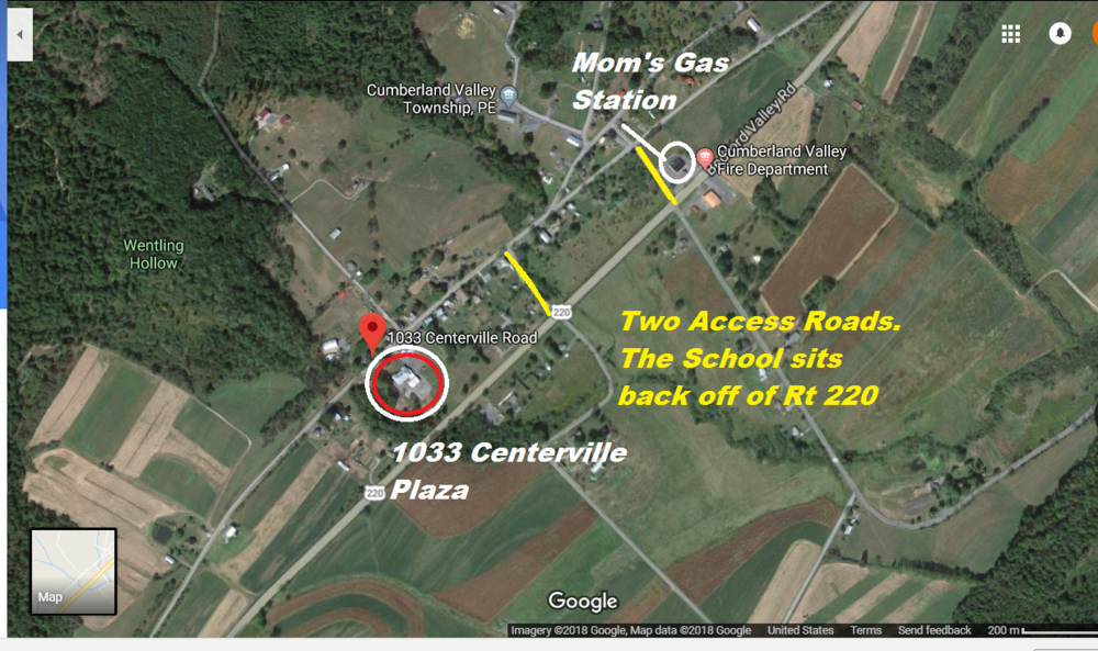 Directions: - If traveling 220 South from Bedford, Pa: Look for Moms Gas station. Make right turn at gas station then make immediate left onto Centerville road. Drive 1/2 mile see Centerville Plaza on your left.Directions from Cumberland MD, Travel north on 220 13-15 minutes. See Plaza's signs/banners and building on your left. Make left turn 1/4 mile onto Nave's road. Make another left. See Plaza on your left. If drove past first left, you may turn left at the gas station, then another left.Bedford PA is located South of Altoona PA. Bedford is 2 hours East of Pittsburg and 2 hours West of Harrisburg.From the Bedford Turnpike, Centerville plaza is roughly 20 minutes.