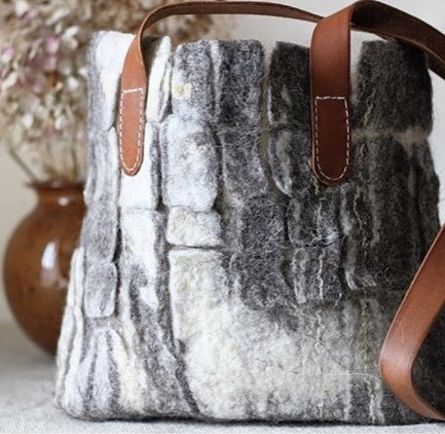 Felt Bag Workshop : £85   Saturday, May 11, 2019  10:00 AM3:00 PM  Making your own felt bag can be one of the most challenging and exciting things to achieve. Using blends of colour from the subtle and natural tones of British wool combined with delicate silk, soya and bamboo fibres you will be immersed in the therapeutic process felt making. Simply overlaying fibres, applying warm soapy water, massaging layers to bond and strengthen fibres to then form a fabric, creating the most unique hand made felt bag.  *all materials included, please bring a towel and bag to carry home wet items. Green