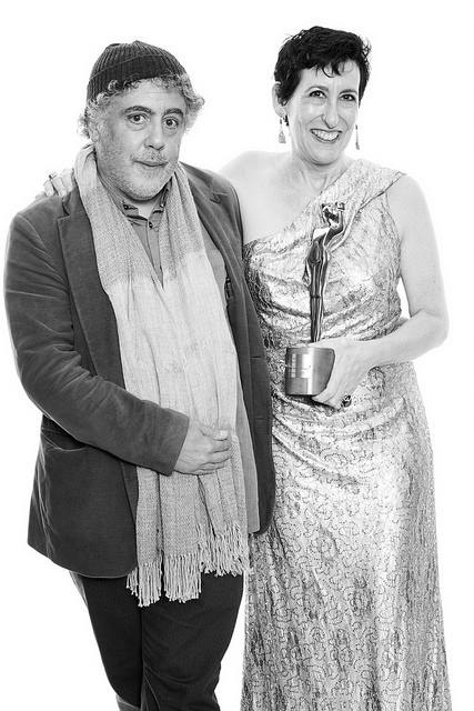 Photojournalist Ron Haviv and JHP Board Chair Miriam Leuchter with the award, October 2017.