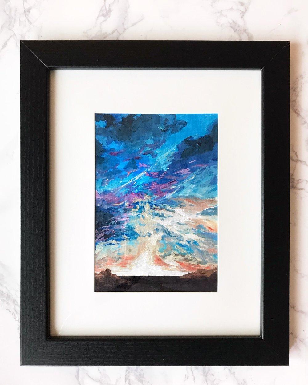 Sky on Fire  5x7  Acrylic on Canvas Board