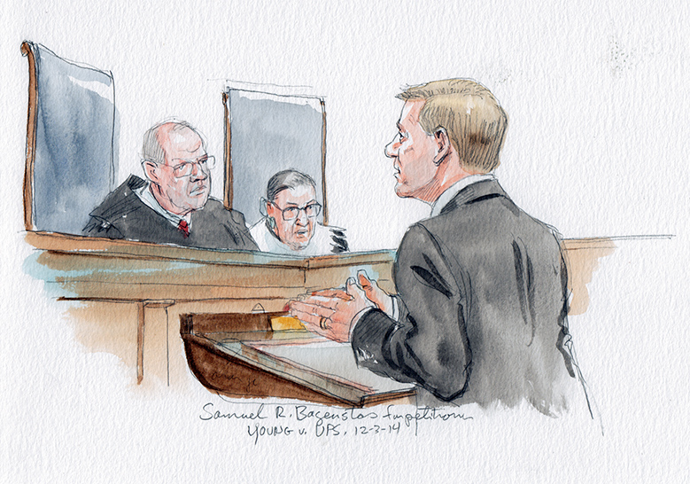 Courtroom sketch of Sam Bagenstos arguing Peggy Young's case before the Supreme Court.