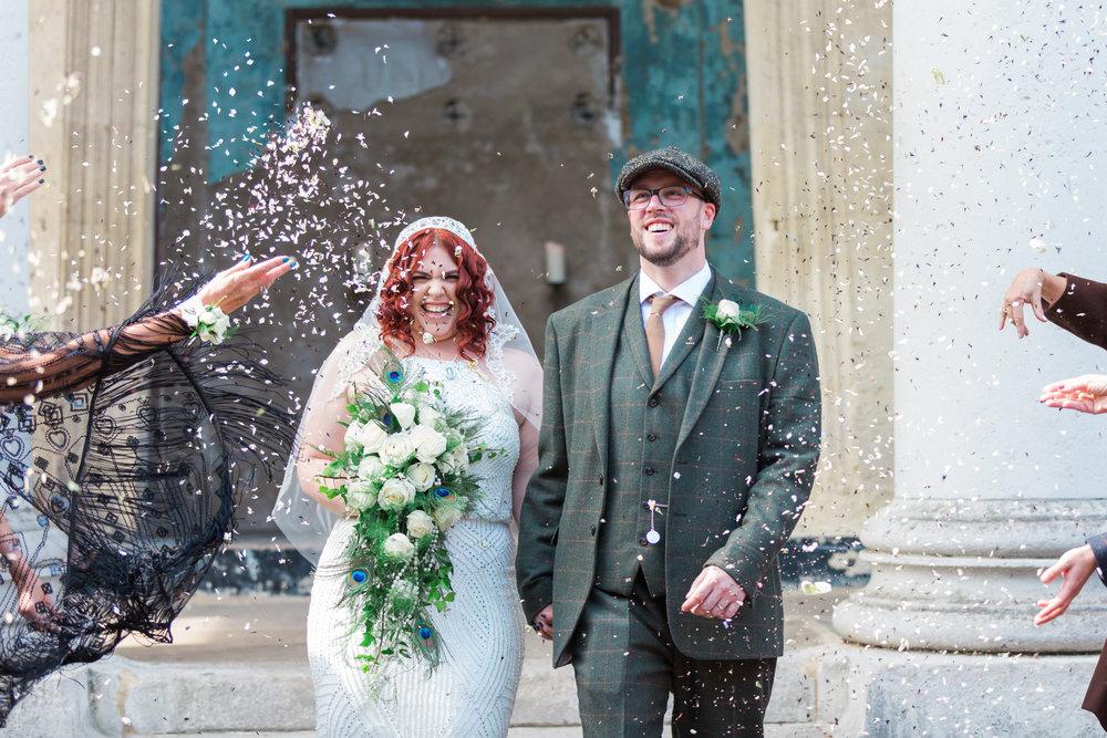 vintage wedding confetti exit.jpg