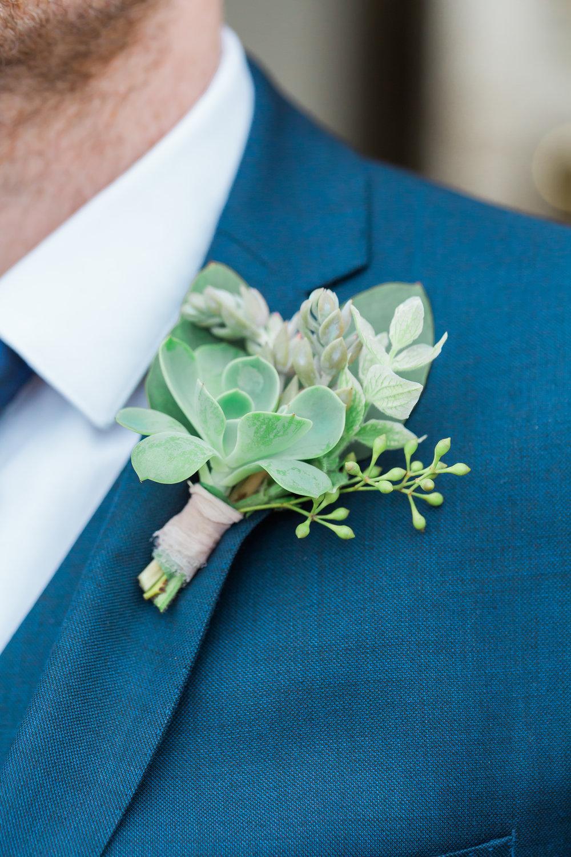 grooms succulent buttonhole somerset.jpg