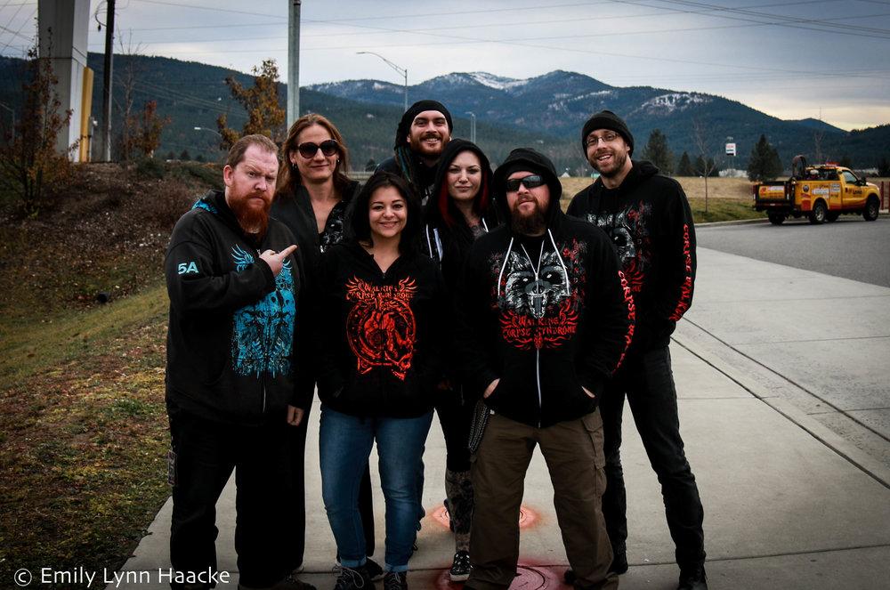 From left: Nocktis, Tana Starkey, Emily Lynn Haacke, Leif Winterrowd, Billie Flatt, Mr. Grimm, Matthew Bile