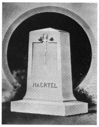 The 1918 headstone of headstone mogul Henry Haertel, crafted by five of his headstone master sons including the founder of Fairmount Monument Works, Emanuel.