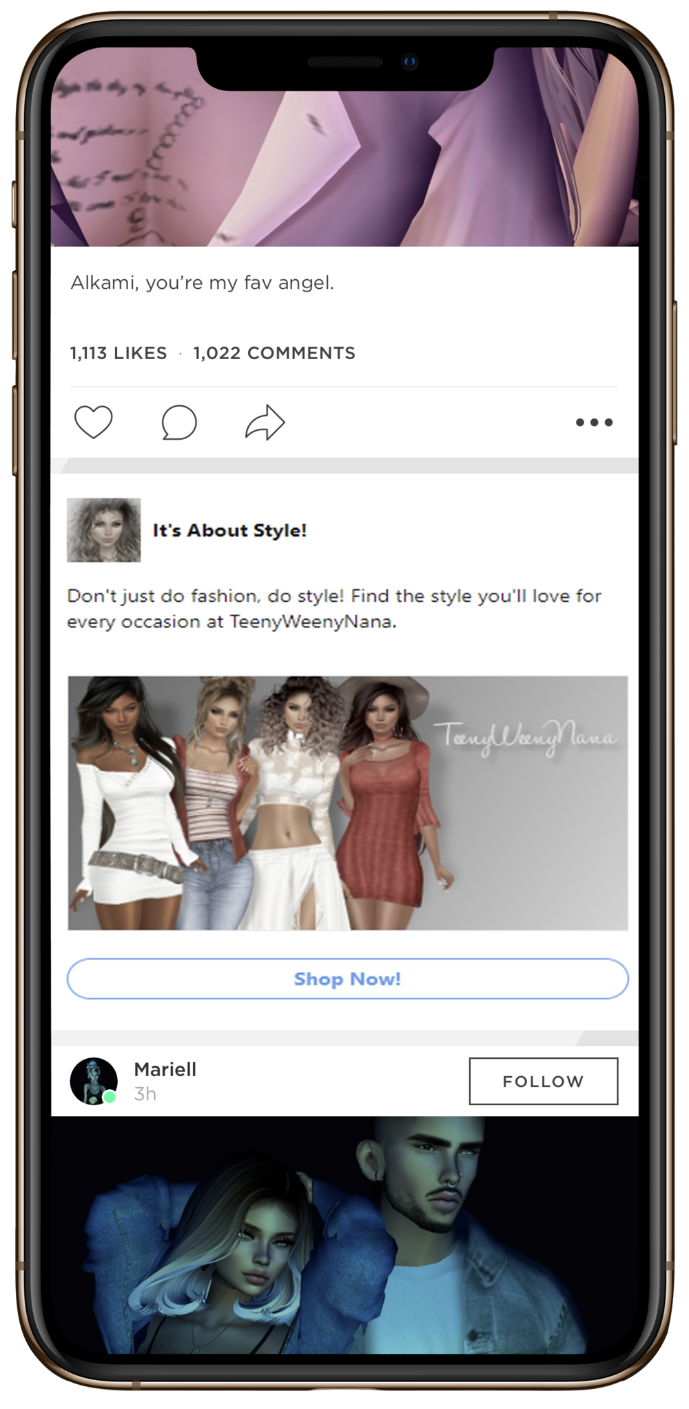 IMVU Native Ads appear on our mobile apps (iOS and Android) in the Feed and have a simple and familiar format that immediately draws attention.