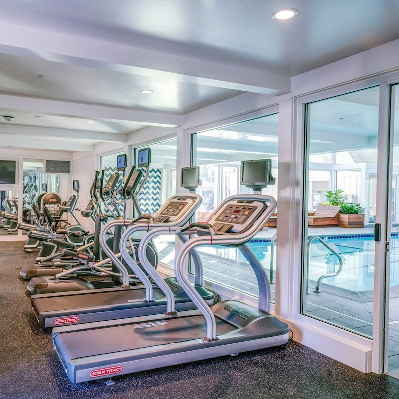 A state-of-the-art fitness center is located in the Cove at Tiburon's Clubhouse.