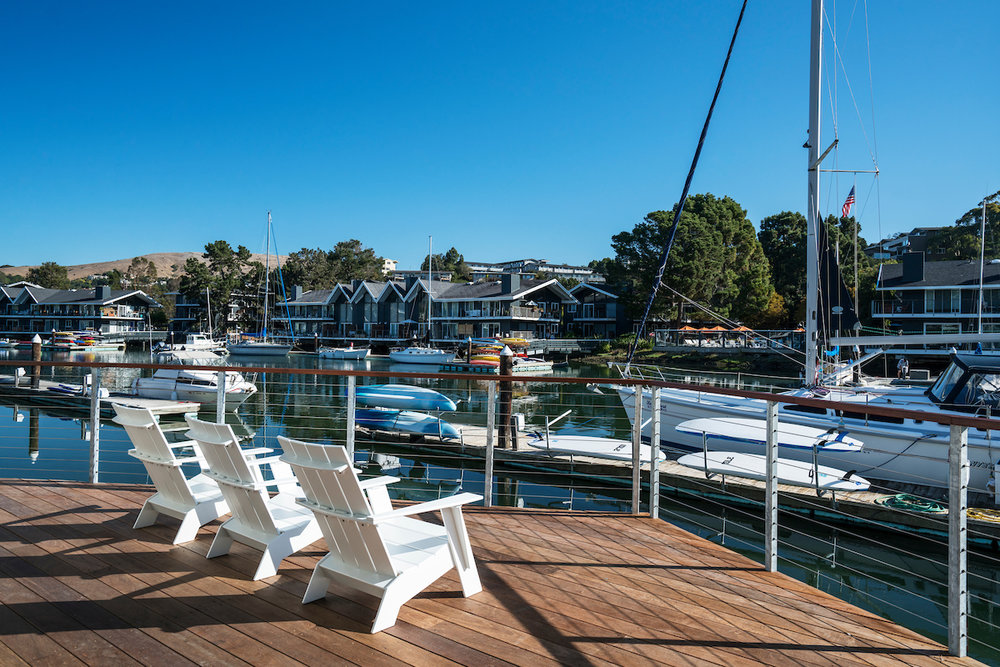 The Cove at Tiburon relaxing Clubhouse deck overlooking the private marina