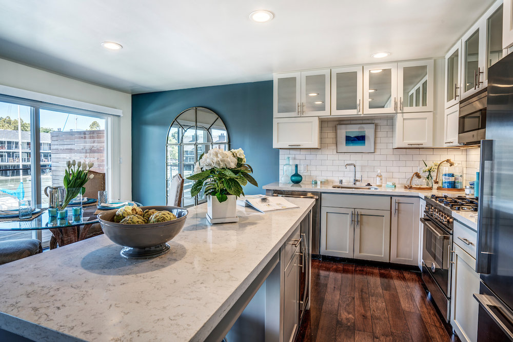The Cove at Tiburon renovated waterfront apartment homes with chef's kitchen, top of the line appliances including wine fridge, Bertazzoni range and microwave