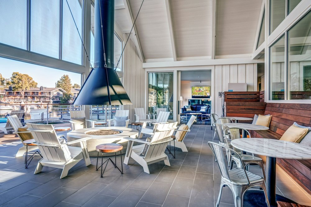 The Cove at Tiburon brand new Clubhouse contains a spectacular waterfront fireside lounge and kitchen that residents can rent for private events.