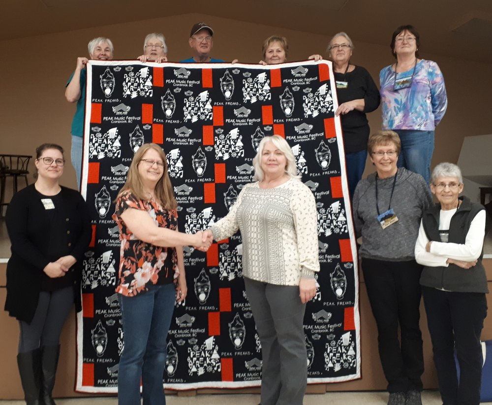 Cranbrook Quilter's Guild sponsored and created a full-size quilt from the remaining 2018 'PEAK' Music Festival T-shirts as the GRAND PRIZE for the FPPAS 2019 'Music in the Park' raffle. All funds go towards FPPAS programs that support local performing artists.