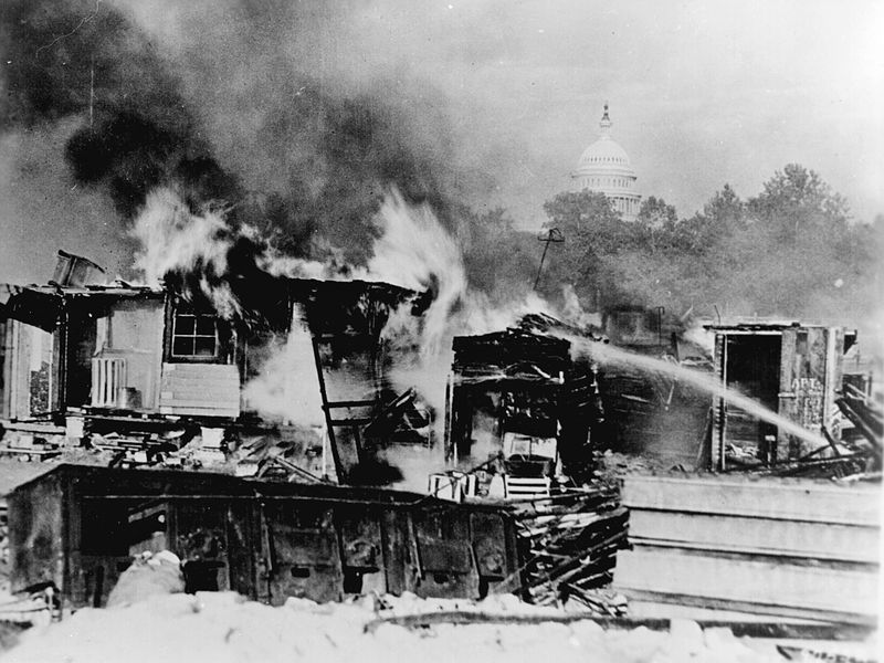 Burning of the Bonus Army Camp, 1932. (Image: Signal Corps/National Archives)