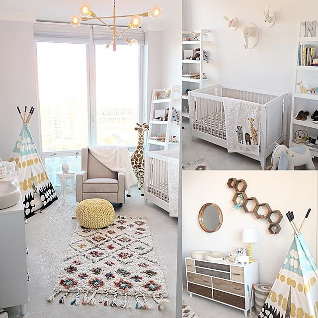 One of the first nurseries I designed...this was for our 1st born, Noah 👼🏻Loved how bright, cozy & fun but yet not cheesy this room was. Now I'm looking forward to moving to our new home & getting started on designing his big boy room since he's 4 now! I love designing baby/kid spaces, they are always so much fun! #nurserydesign #kidspaces