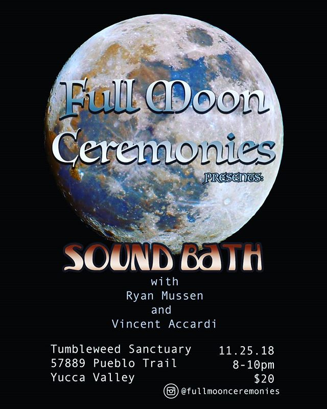 Join us for the next full moon sound bath. Sunday November 25th 8-10pm. Blankets are provided but please bring anything you need to be comfortable. Please message us with any questions.