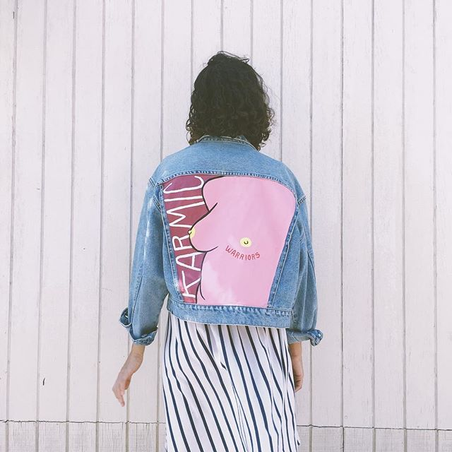 🌸🌸 We are in love with these one of a kind hand painted vintage jean jackets! You can get yours at our merch table at @sunstocksolfest this weekend. We have lots of awesome Karmic goodies, including these jackets, beautifully painted by @dreams_incarnate 🎨 They are also available at www.thisiskarmic.com   #relaxitsonlyflesh #vintagedenim