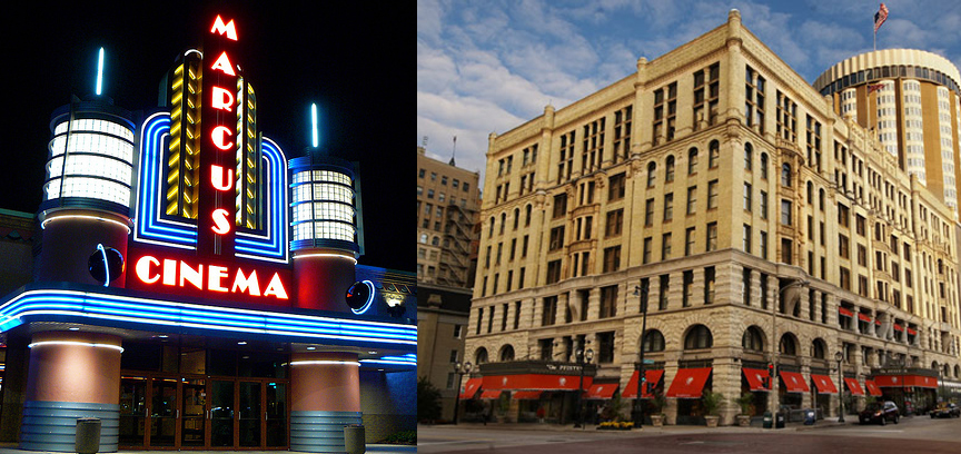 The Marcus Corporation has two divisions, Marcus Theatres and Marcus Hotels and Resorts. Marcus Theatres currently owns or manages almost 700 screens at locations in Wisconsin, Illinois, Minnesota, Ohio, North Dakota, Iowa and Nebraska, including a family entertainment center in Wisconsin. In 1962, the Pfister was purchased by Ben Marcus, who vowed to renovate the distinguished hotel to its original beauty.  Significant renovations were completed and a new 23-story guest room tower was added. An extensive art collection continues to grace the walls of The Pfister today.