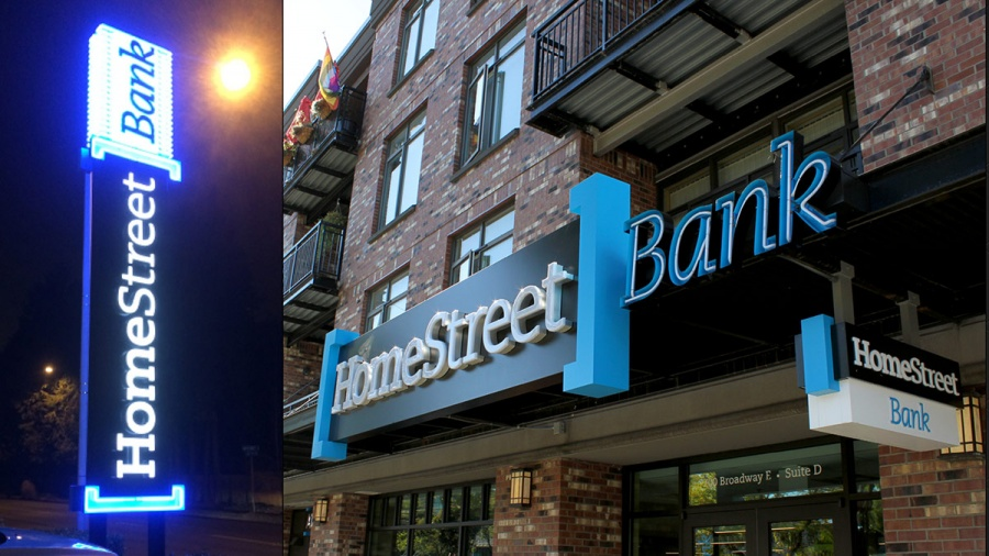 Wexley School for Girls project, HomeStreet Bank exterior signage.Final execution, rolled out to evrey branch in Oregon, Washington and Hawaii.
