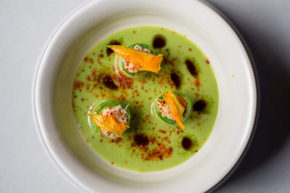 Chilled Zucchini Soup, Pumpkin Seed Oil, Squash Blossom, Dungeness Crab