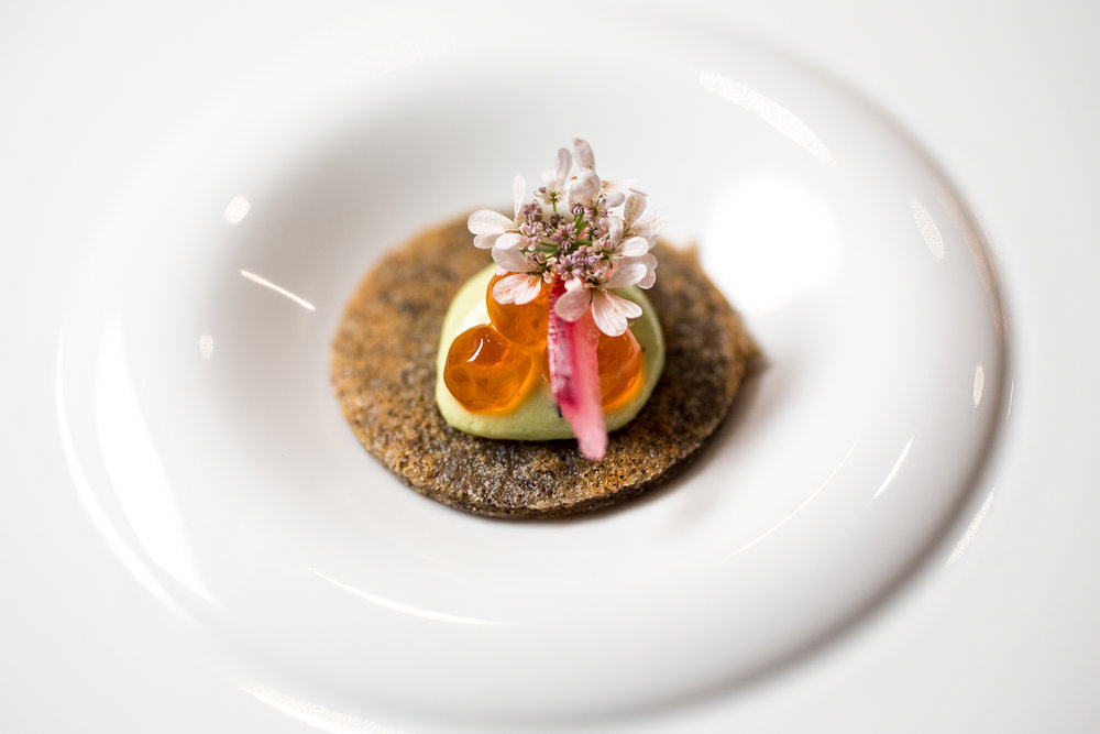 « Avocado Toast »    Masa Blini, Salmon Roe, Avocado Crème Fraîche, Pickled Onions, Coriander