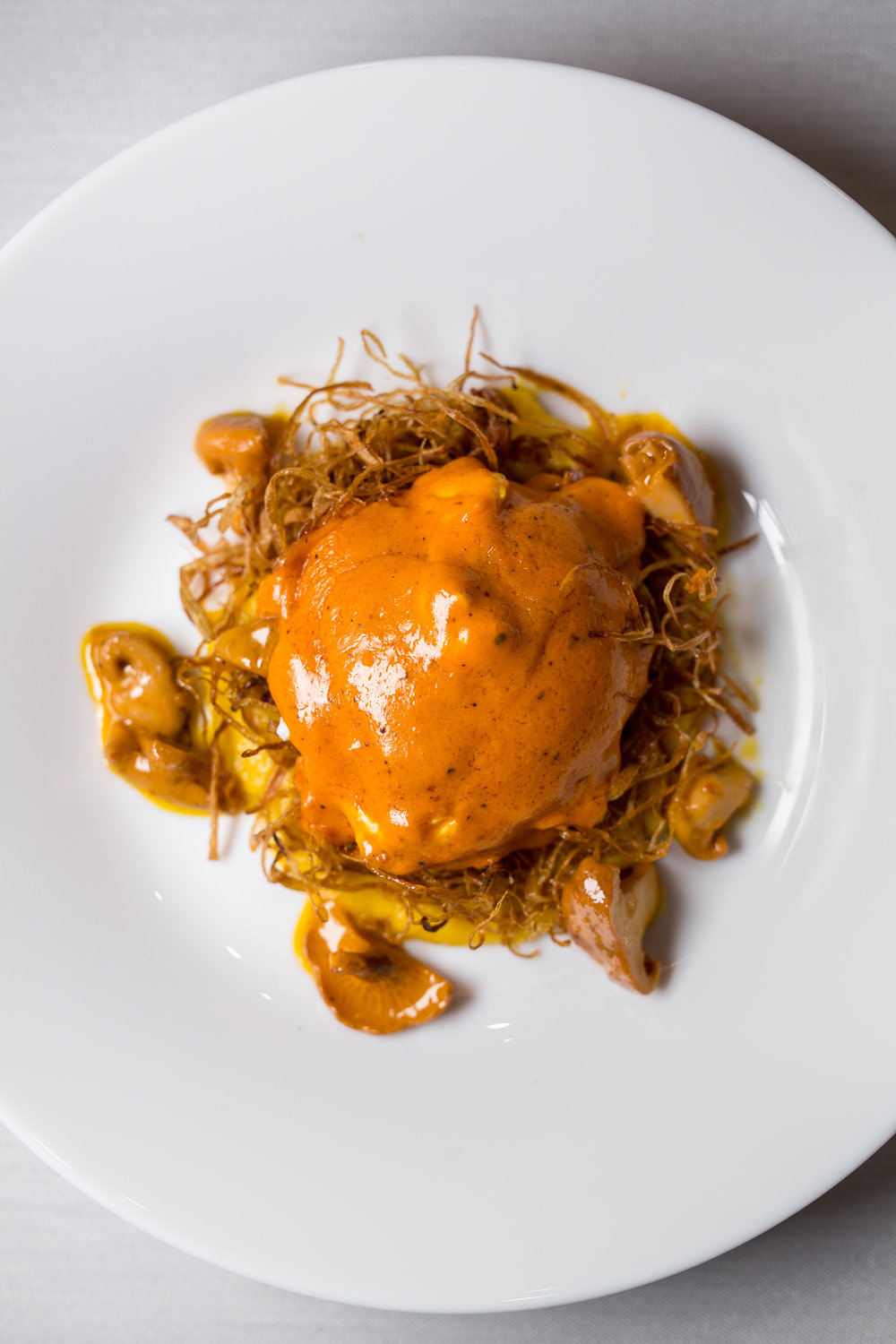 « Pollo Asado »  Coddled Farm Egg, Crispy Leeks, Pumpkin, Chanterelle