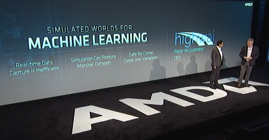 AMD Next Horizon Event - November 6, 2018: Highwai CEO Peter McGuinness demonstrates Highwai's cloud-scalable simulation tools used to produce the data used to train neural networks on AMD hardware and software.
