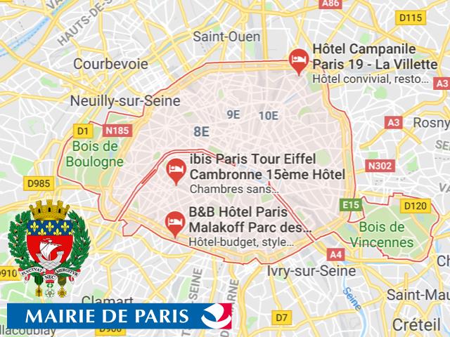 Ville de Paris  Superficie: 105,40 km2 Démographie: 2.23 Millions d'habitants