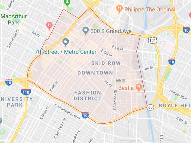 Downtown LA  Superficie: 12.25 km2 Démographie: environ 65,000 habitants Prix moyen par Sq.Ft (1m2 = 10.76 Sq.Ft): -Maison Single Family: Q1 2018: $376 (Q1 2017: $276) -Condo: Q1 2018: $723 (Q1 2017: $637)