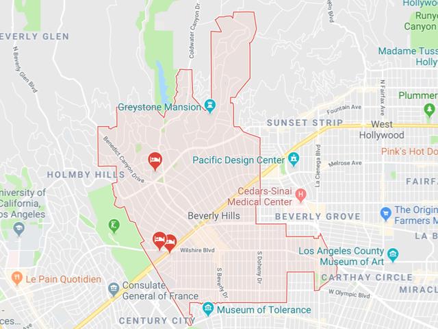 Beverly Hills  Superficie: 14.79 km2 Démographie: 34,687 habitants Prix moyen par Sq.Ft (1m2 = 10.76 Sq.Ft): -Maison Single Family: Q1 2018: $1,700 (Q1 2017: $1,362) -Condo: Q1 2018: $745 (Q1 2017: $713)