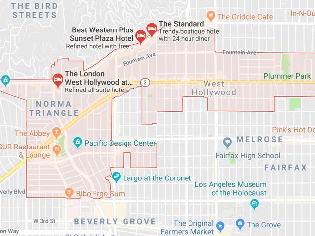 West Hollywood  Superficie: 4.89 km2 Démographie: 36,698 Prix moyen par Sq.Ft (1m2 = 10.76 Sq.Ft): -Maison Single Family: Q1 2018: $938 (Q1 2017: $773) -Condo: Q1 2018: $691 (Q1 2017: $669)