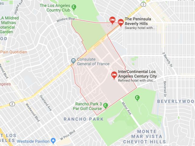 Century City  Superficie: 0.71 km2 Démographie: 5,513 habitants Prix moyen par Sq.Ft (1m2 = 10.76 Sq.Ft): -Maison Single Family: Q1 2018: $886 (Q1 2017: $863) -Condo: Q1 2018: $761 (Q1 2017: $695)