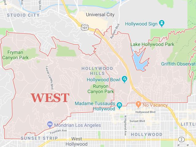 Hollywood Hills WEST  Superficie: 12.61 km2 Démographie: +16,000 habitants Prix moyen par Sq.Ft (1m2 = 10.76 Sq.Ft): -Maison Single Family: Q1 2018: $916 (Q1 2017: $866) -Condo: Q1 2018: $582 (Q1 2017: $965)