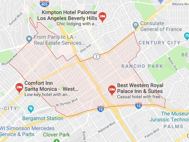 West Los Angeles  Superficie: 9.69 km2 Démographie: +52,280 habitants  Prix moyen par Sq.Ft (1m2 = 10.76 Sq.Ft): -Maison Single Family: Q1 2018: $855 (Q1 2017: $693) -Condo: Q1 2018: $610 (Q1 2017: $590)