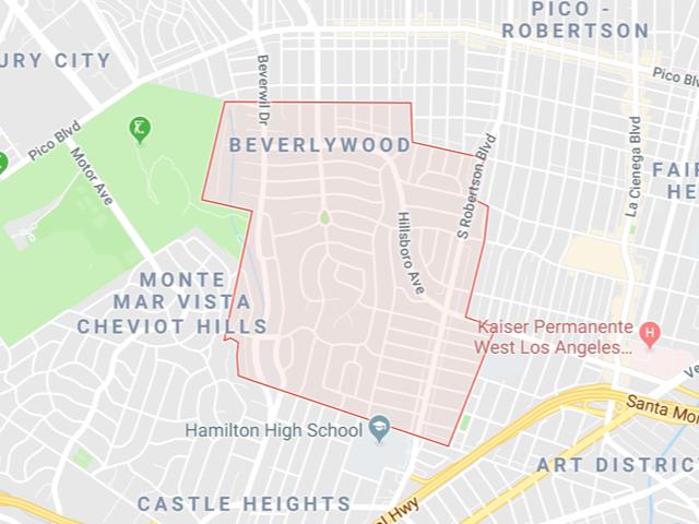 Beverlywood  Superficie: 2.05 km2 Démographie: +6,418 habitants  Prix moyen par Sq.Ft (1m2 = 10.76 Sq.Ft): -Maison Single Family: Q1 2018: $752 (Q1 2017: $686)