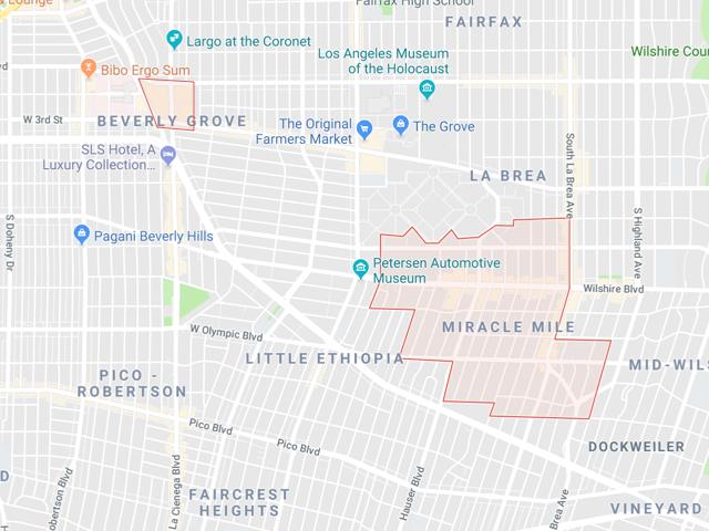 Beverly Center / Miracle Mile  Superficie: environ 3.88 km2 Démographie: +10,000 Prix moyen par Sq.Ft (1m2 = 10.76 Sq.Ft): -Maison Single Family: Q1 2018: $790 (Q1 2017: $739) -Condo: Q1 2018: $667 (Q1 2017: $564)