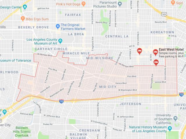 Mid City / Mid Los Angeles  Superficie: 8.98 km2 Démographie: +55,000 habitants Prix moyen par Sq.Ft (1m2 = 10.76 Sq.Ft): -Maison Single Family: Q1 2018: $475 (Q1 2017: $427)